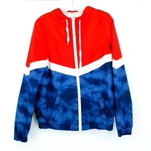 Zine Red White Blue Zip Up Windbreaker Jacket M